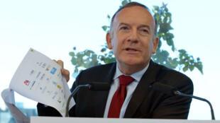 Pierre Gattaz lors d'une conférence de presse le 9 janvier 2016.