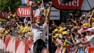 L'Allemand John Degenkolb a franchi le premier la ligne de la 9e étape du Tour, le 15 juillet à Roubaix.