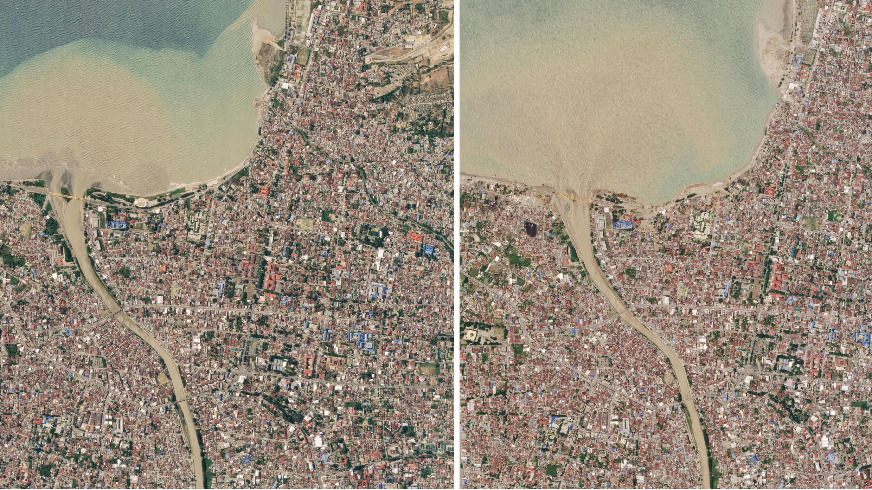 El antes y el después del tsunami. La foto muestra el cambio del color y del movimiento del agua.