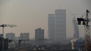 This picture shows the air pollution at the City Life district of Milan, Italy, February 3, 2020.