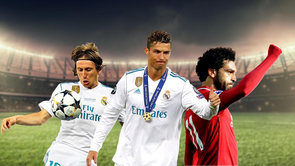 De izquierda a derecha, Luka Modric, Cristiano Ronaldo y Mohamed Salah en un montaje.