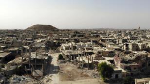 Photo aérienne de la ville de Morek,dans la campagne du nord de la province de Hama, le 13 octobre 2018.