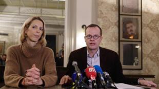 Le président de l'association SOS Chrétiens d'Orient Benjamin Blanchard (droite) à Paris, le 24 janvier 2020.