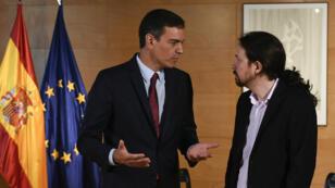 Le Premier ministre espagnol Pedro Sanchez et le leader de Podemos, Pablo Iglesias, le 9juillet2019, à Madrid.