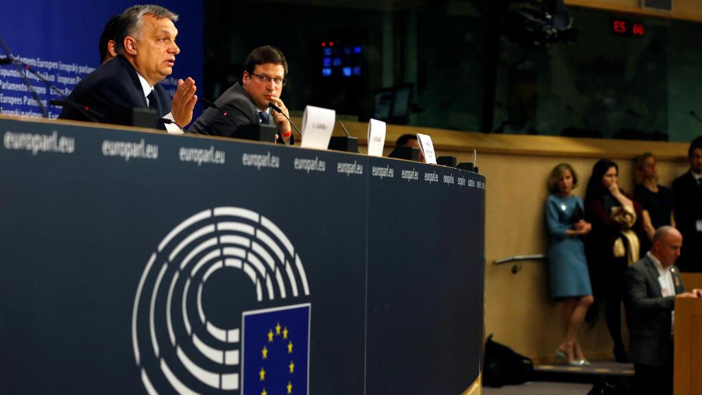 El primer ministro de Hungría, Viktor Orban, habla durante una conferencia de prensa después de una Asamblea Política del Partido Popular Europeo sobre el partido Fidesz de Hungría en Bruselas, Bélgica, el 20 de marzo de 2019.