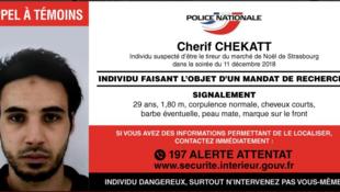 La police a lancé un appel à témoins pour tenter de retrouver Chérif Chekatt, l'auteur supposé de l'attaque de Strasbourg.