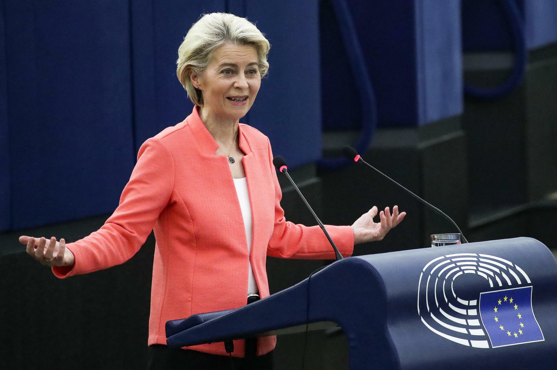 La présidente de la Commission européenne, Ursula von der Leyen, lors de son discours sur l'état de l'Union devant le Parlement européen de Strasbourg, le 15 septembre 2021