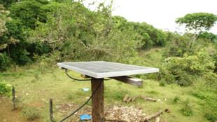 Imagen de uno de los paneles solares entregados a dos comunidades de la región del Putumayo, en Colombia.