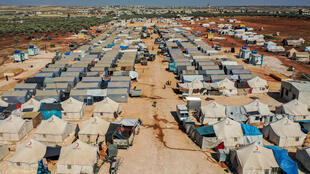 An aerial view of tents at the Azraq camp for displaced Syrians near the town of Maaret Misrin in Syria's northwestern Idlib province