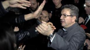 Jean-Luc Mélenchon, dimanche 5 février 2017, en meeting à Chassieu près de Lyon.