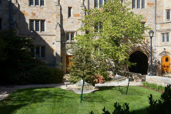 A l'université de Yale, des hamacs sont installés à l'extérieur d'un bâtiment où vivent des étudiants.