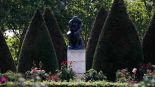 "Rodin's iconic sculpture ""The Thinker"" pictured in the museum's garden on the eve of its reopening after an almost four-month shutdown."
