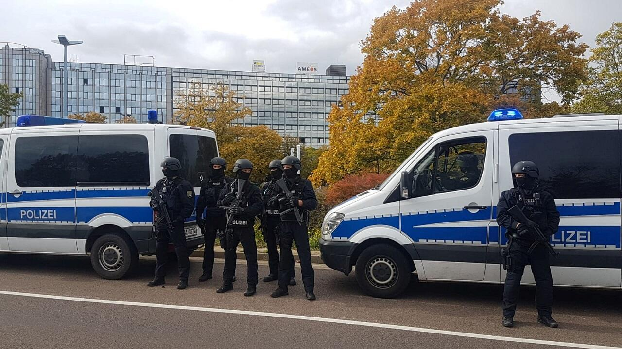 Police secures the area after a shooting in the eastern German city of Halle on October 9, 2019.