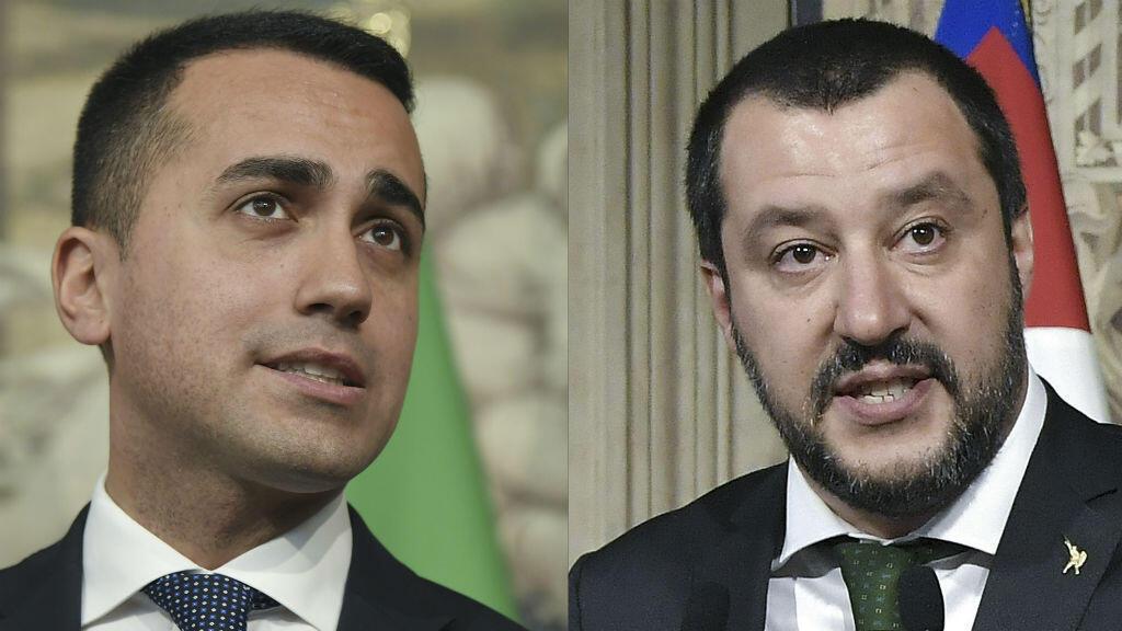 Les chefs de file des deux formations, Luigi Di Maio (M5S) et Matteo Salvini (Ligue), se sont retrouvés jeudi 10 mai à la Chambre des députés.