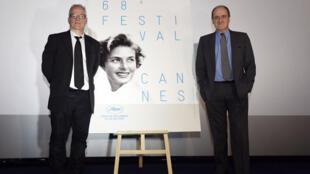 Le président du festival de Cannes, Pierre Lescure (g) et Thierry Frémaux (d), le délégué général, ont tenu une conférence de presse pour la présentation de la 68e édition du festival.