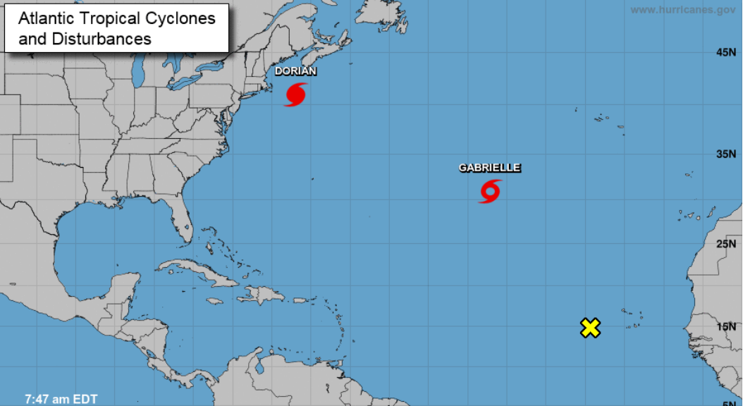 Captura de pantalla que muestra el trayecto del huracán Dorian, el 7 de septiembre de 2019.
