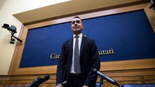 El líder del partido Movimiento 5 Estrellas (M5S), Luigi Di Maio, anuncia los resultados de la votación en línea sobre su alianza con el Partido Democrático (PD) en una conferencia de prensa en Roma, Italia, el 3 de septiembre de 2019.
