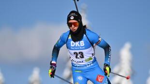 La Française Anaïs Chevalier-Bouchet, lors de l'épreuve du sprint aux Championnats du monde de biathlon, le 13 février 2021 à Pokljuka (Slovénie)