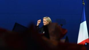 Marine Le Pen lors de son discours à Villepinte le 1er mai.