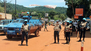 Des casques bleus de la Minusca dans les rues de Bangui le 8 octobre 2014.