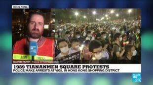 2020-06-04 16:03 Hong Kong police make arrests at vigil for 1989 Tiananmen Square clampdown victims