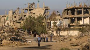 Des écoliers palestiniens dans la ville de Chedjaïa, le 14 septembre 2014.