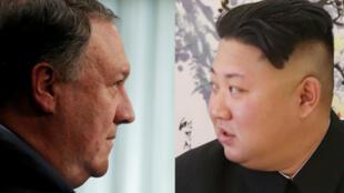 El secretario de Estado de EE. UU., Mike Pompeo (izquierda) y el líder norcoreano, Kim Jong-un (derecha).