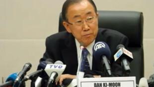 بان كي مون متحدثا في قمة الاتحاد الأفريقي في أديس أبابا في 30 كانون الثاني/يناير 2015