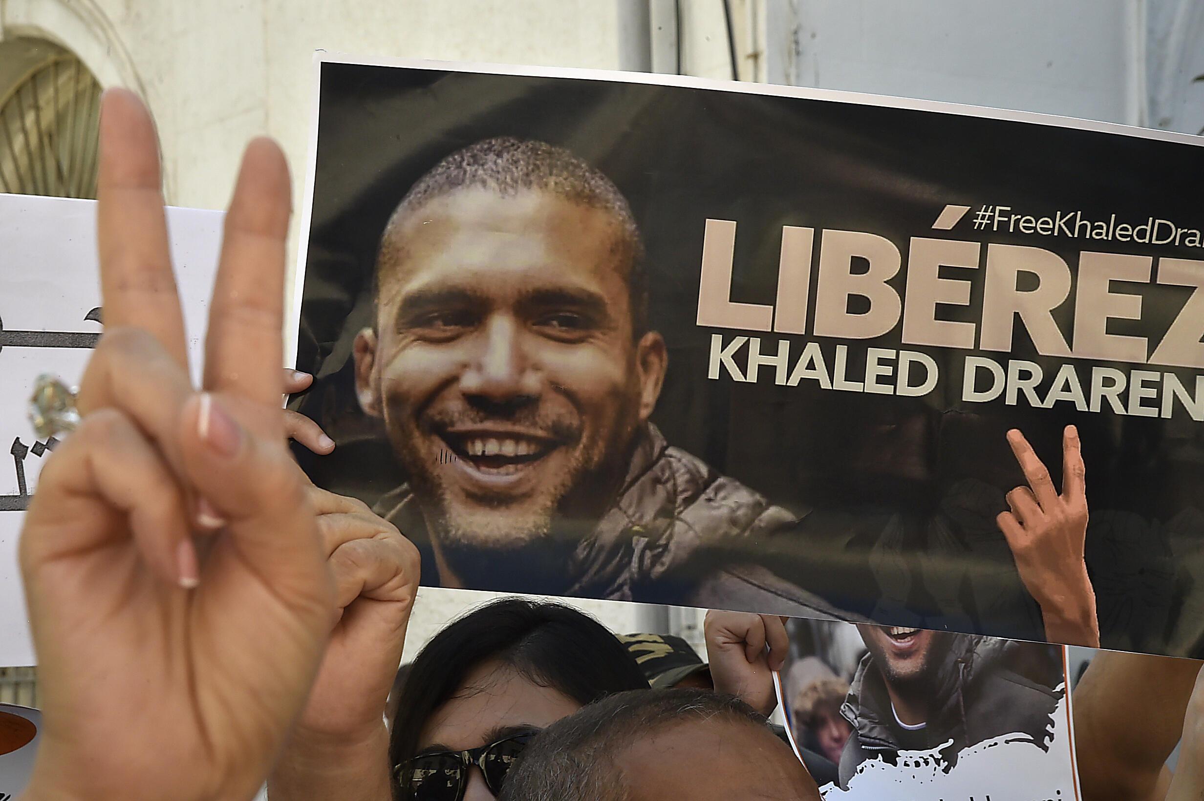 تجمع في 31 آب/اغسطس 2020 في العاصمة الجزائرية للمطالبة بالإفراج عن الصحافي خالد درارني