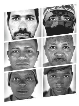 Les six combattants (de gauche en haut à en bas à droite) : L'Israélien Gilad, le Palestinien Abu Khaled, les Salvadoriens Amilcar Vladimir et Jorge Alberto, et les combattants en RD Congo, Patient et Jean Dedieu.