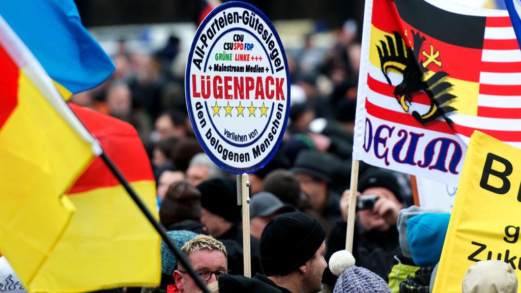 Rassemblement de sympathisants du mouvement anti-Islam Pegida, le 25 janvier à Dresde.