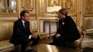 الرئيس الفرنسي إيمانويل ماكرون يستقبل المفوضة السامية لحقوق الإنسان ميشال باشليه في الإليزيه 29 أكتوبر 2018