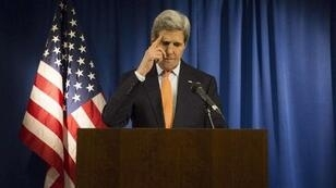 US Secretary of State John Kerry speaks during a media briefing at the US Embassy in London on February 21.