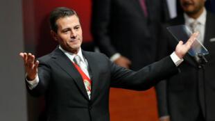 El presidente de México, Enrique Peña Nieto, después de pronunciar su sexto y último discurso sobre su gobierno en el Palacio Nacional en la Ciudad de México, México, el 3 de septiembre de 2018.