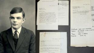 Alan Turing (à gauche) et ses lettres redécouvertes par l'université de Manchester (à droite).