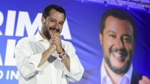 Matteo Salvini en conférence de presse à Milan le 26mai2019.