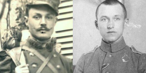 Maurice Genevoix en 1914 à gauche et Ernst Jünger en 1916 à droite.