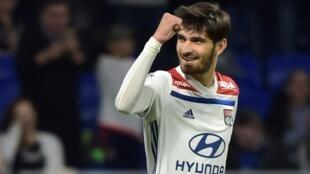 Le milieu de Lyon Martin Terrier buteur contre Angers, le 19 avril 2019 à Décines-Charpieu