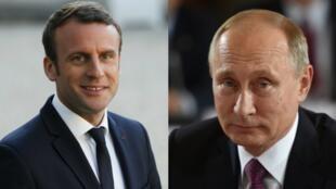 الرئيسان الفرنسي إيمانويل ماكرون والروسي فلاديمير بوتين