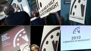 A combination of file pictures shows (clockwise from top L) the Doomsday Clock on January 25, 2018; on January 26, 2017; on January 26, 2016; on January 22, 2015; on January 10, 2012; and on January 14, 2010