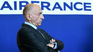 Le PDG d'Air France, Jean-Marc Janaillac, lors d'une conférence de presse le 20 avril 2018 à Paris.