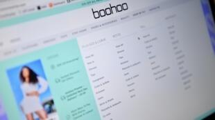 Le portail en ligne du groupe d'habillement britannique Boohoo, photo prise sur un ordinateur portable le 30 avril 2020 à Londres