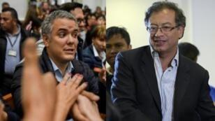 صورة مركبة، المرشح اليساري غوستافو بيترو واليميني إيفان دوكي. حزيران/يونيو 2018.