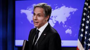 وزير الخارجية الأميركي انتوني بلينكن مختتماً أول مؤتمر صحفي في وزارة الخارجية بواشنطن، 7 كانون الثاني/يناير 2021