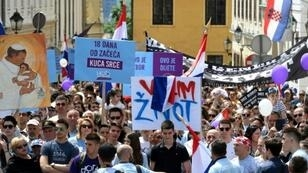 """People take part in the """"March for Life"""", Croatia's fourth annual anti-abortion march in Zagreb on Saturday"""