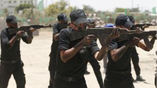 Des recrues des Brigades Izz al-Din al-Qassam s'entraînant à Gaza, le 20 juillet 2019.
