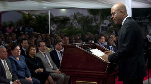 Haitian President Michel Martelly speaks during a speech to the nation at the National Palace in Port-au-Prince on January 16, 2015