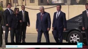محمود عباس وديمتري مدفيديف قبيل المؤتمر الصحافي في أريحا