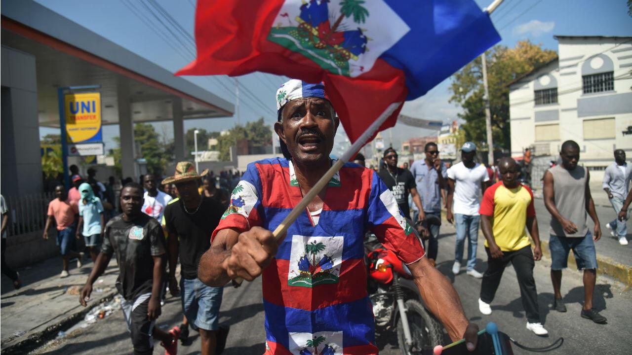 Des manifestants à Port-au-Prince, le 7février2019.