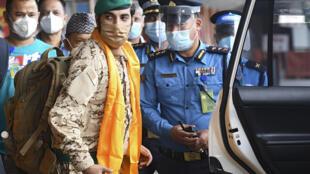 Members of the Bahrain team arriving in Nepal